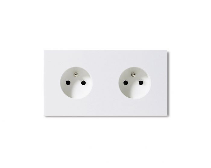 Basalte 0421-04 Socket - 2 gang - power outlet - satin white