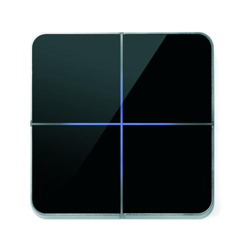 Basalte 204-03 Enzo Frontplatte 4fach - Farbe: black glass