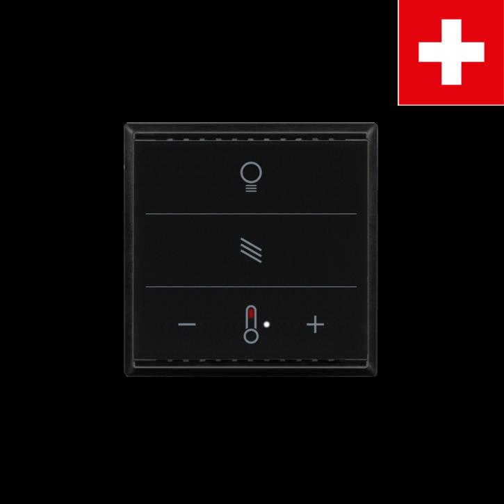 Elsner 70893 Cala KNX MultiTouch T Light/Blind (Schweiz), Schwarz RAL9005, Taster für Licht, Sonnenschutz, Temperatur, Swiss Edition