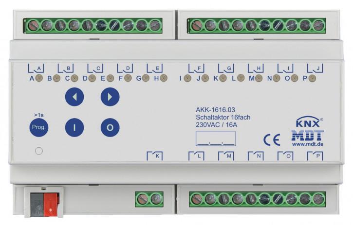 MDT AKK-1616.03 KNX-Schaltaktor 16-fach, 8TE REG, 16A, 230VAC, Kompakt