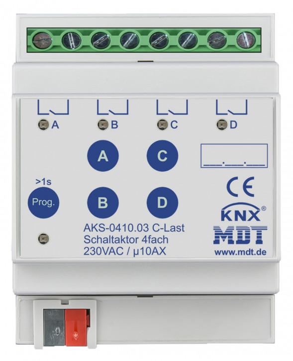 MDT AKS-0410.03 Schaltaktor 4-fach, 4TE, REG, 10A, 230VAC, C-Last, Standard, 140µF