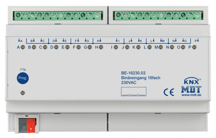 MDT BE-16230.02 Binäreingang 16-fach, 8TE REG, Eingänge 230VAC