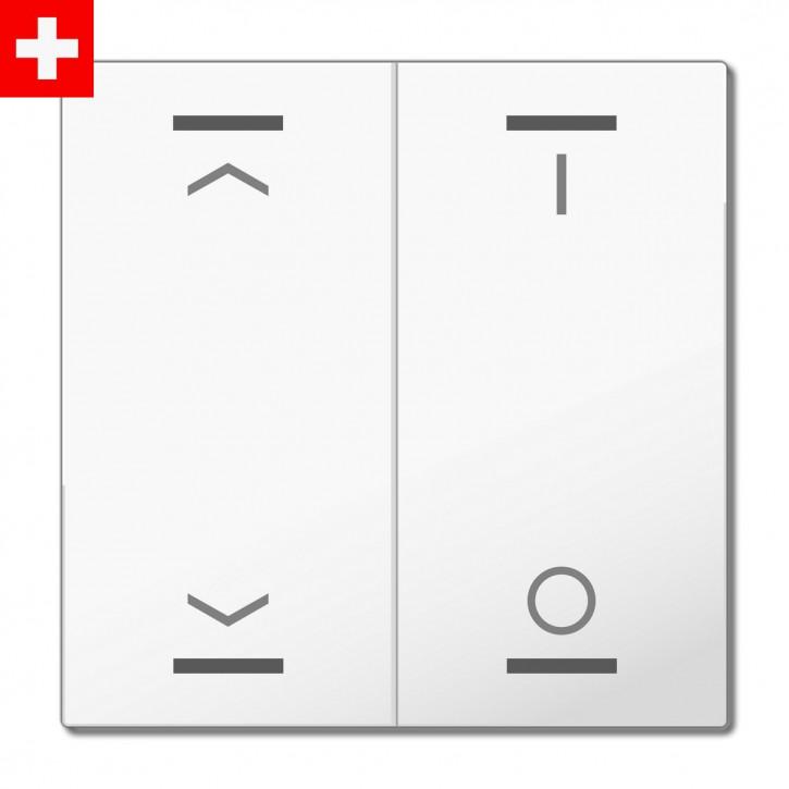"MDT BE-TAL60W2.C1 ""Swiss-Edition"" Wippenset für Taster Light 60-CH 2-fach, Reinweiß glänzend, Ausführung ""Jalousie"" (links) / ""Beleuchtung"" (rechts)"