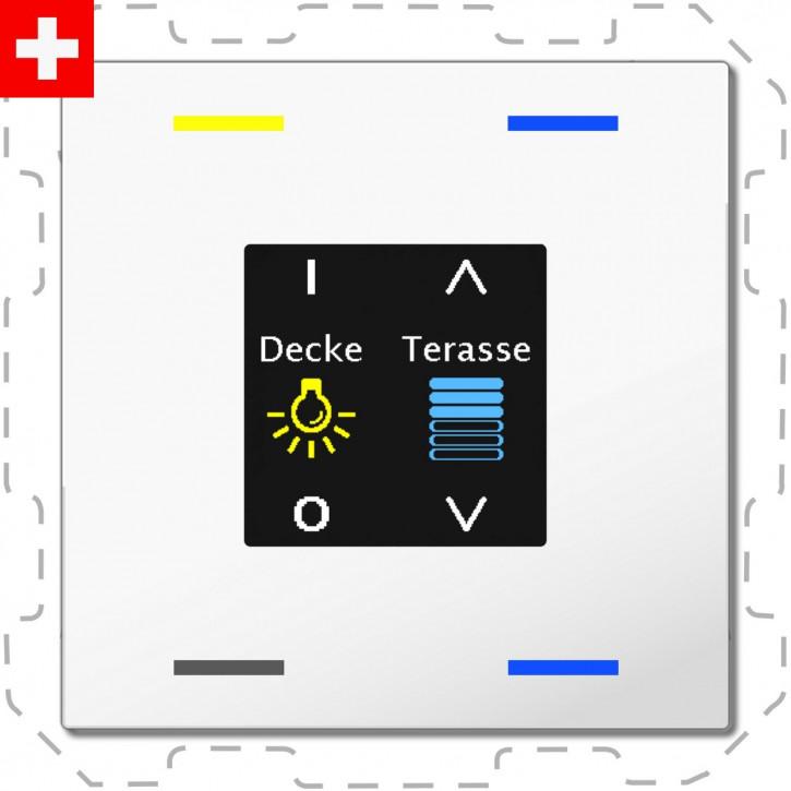 """MDT BE-TAS6004.01 """"Swiss-Edition"""" Taster Smart 60-CH mit Farbdisplay, 4-fach, RGBW, Reinweiß glänzend, Ausführung NEUTRAL mit 4 Tasterflächen, ohne Temperatursensor, Integrierter Busankoppler"""