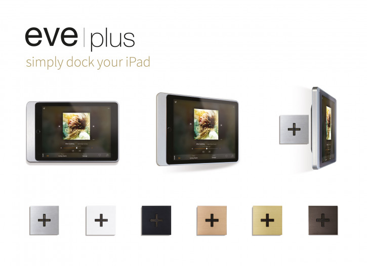 "Basalte Set Eve plus - sleeve iPad 9.7"" - brushed aluminium+Eve plus - wall base - 24V+Eve plus - wall base cover - brushed aluminium"