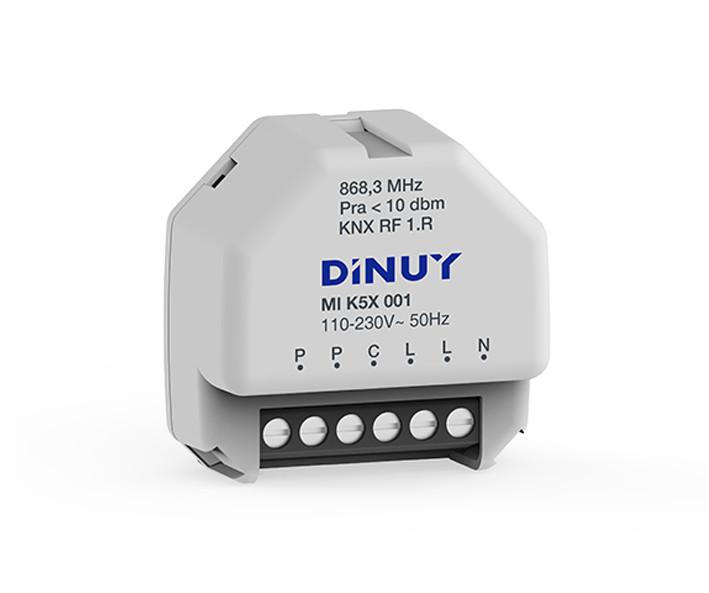DINUY-MIK5X001 KNX RF S-Mode Funk-Schaltaktor 1 Kanal 16A mit Tastereingang UP Unterputz