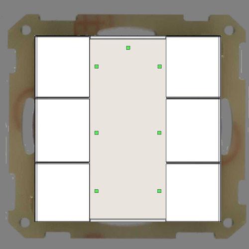 MDT BE-TA55P6.01 Taster 6-fach Plus, Reinweiss matt
