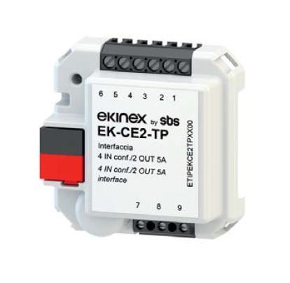 EKINEX EK-CE2-TP KNX UP-Universalschnittstelle mit 4 Eingängen für potentialfreie Eingänge und NTC-Temperatursensoren mit integrierter Raumtemperaturregelung und 2 Relais-Ausgängen (5A)