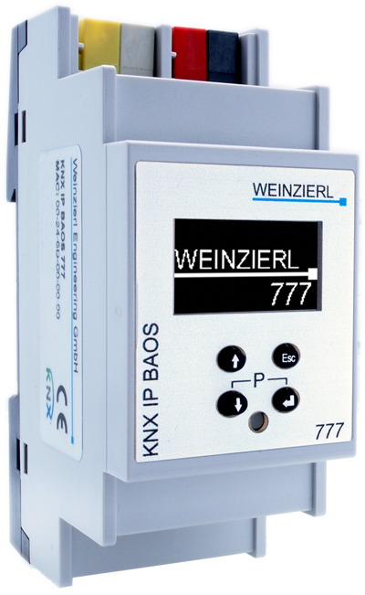 Weinzierl 5193 KNX IP Interface and Object Server / bis zu 2000 Datenpunkte / OLED Display - 2TE (36mm)