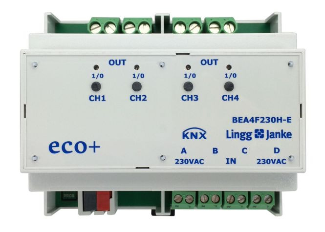 Lingg&Janke 79244 KNX eco+ Binär Ein- / Ausgang 4-fach, Signaleingang 230V, Handbedienung