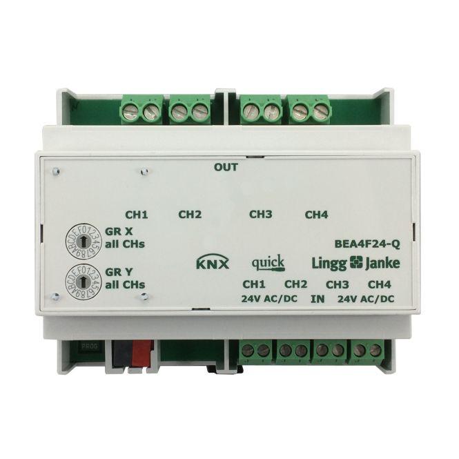 Lingg&Janke Q79246 KNX quick Binär-Ein/-Ausgang 4-fach, BEA4F24-Q, Signaleingang 24V AC/DC, 16A C-Last, 6TE