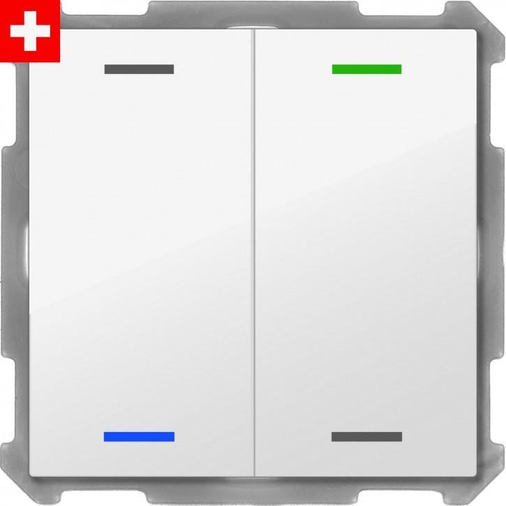 """MDT BE-TAL60T2.01 """"Swiss-Edition"""" Taster Light 60 2-fach, RGBW, Reinweiß glänzend, Ausführung NEUTRAL mit 2 Tastenpaar, 4 Tasterflächen, mit Temperatursensor, Integrierter Busankoppler"""