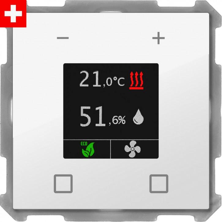"""MDT BE-RTR60S.01 """"Swiss-Edition"""" Raumtemperaturregler Smart 60-CH mit Farbdisplay, Temperatur- und Feuchtesensor und 4 Eingängen, Reinweiß glänzend, Integrierter Busankoppler"""