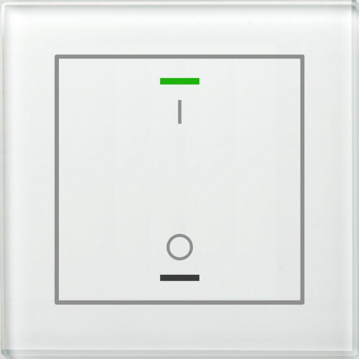MDT BE-GTL1TW.B1 KNX Glastaster II Light 1-fach, RGBW, Weiß, Ausführung I/O Symbol und Temperatursensor, mit 1 Tastenpaar, 2 Sensorflächen, integrierter Busankoppler