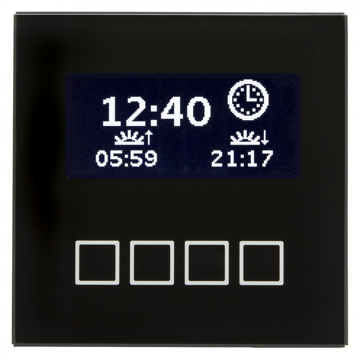 MDT SCN-LCDGS.01 Glas Bedienzentrale mit LCD Anzeige, Unterputzgerät, schwarz