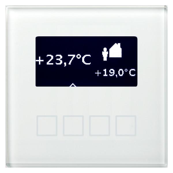 MDT SCN-RT1GW.01 Glas Raumtemperaturregler 1-fach mit LCD Anzeige, Unterputzgerät, weiss