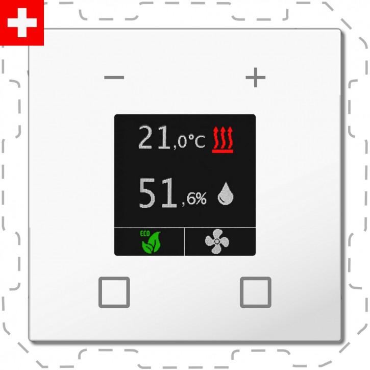 """MDT SCN-RTN60S.01 """"Swiss-Edition"""" Raumtemperaturregler-Nebenstelle Smart 60-CH mit Farbdisplay, Reinweiß glänzend, Integrierter Busankoppler"""