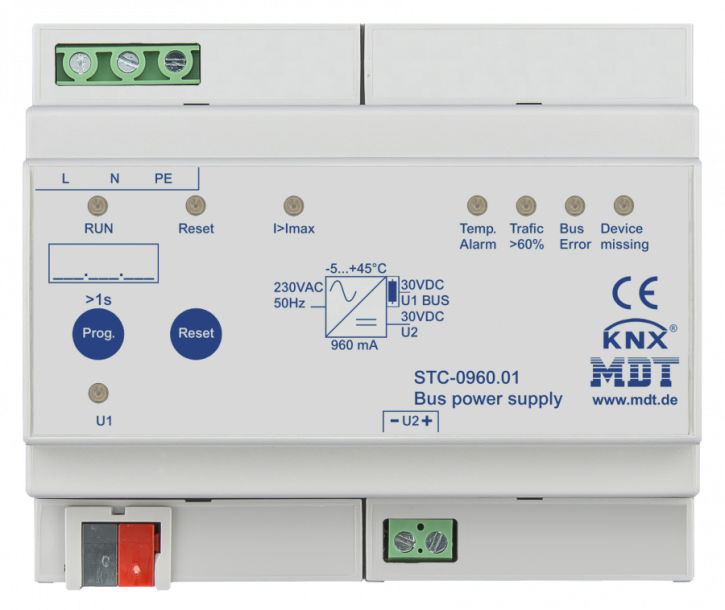 MDT STC-0960.01 Busspannungsversorgung mit Diagnosefunktion, 6TE REG, 940mA
