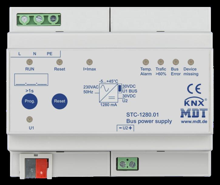 MDT STC-1280.01 Busspannungsversorgung mit Diagnosefunktion, 6TE REG, 1280mA