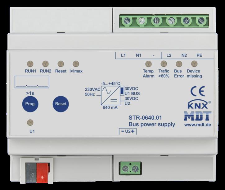 MDT STR-0640.01 Redundante Busspannungsversorgung mit Diagnose zur Erhöhung der Betriebsicherheit, 6TE REG, 640mA