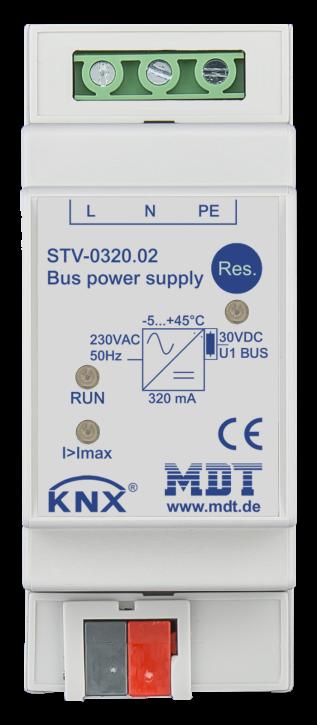 MDT STV-0320.02 Busspannungsversorgung, 2TE, REG, 320/640mA