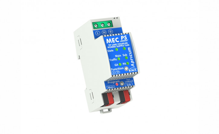 Apricum MECps640 - KNX Linien-/Bereichskoppler mit integrierter 640mA KNX Spannungsversorgung, 2TE, REG