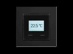 Elsner KNX T-UP Touch CH, tiefschwarz RAL 9005, KNX-Temperatursensor mit Touch-Tasten, Swiss-Edition