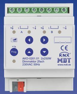 MDT AKD-0201.01 Dimmaktor 2-fach, 4TE, REG, 250W, 230VAC