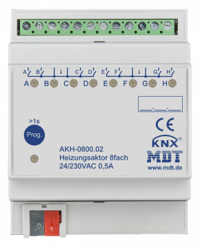 MDT AKH-0800.02 Heizungsaktor 8-fach, 4TE, REG, 24-230VAC