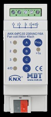 MDT AKK-04FC.03 Schaltaktor 4-fach, 2TE, REG, 16A, 70µ, 10EVG, 230VAC, Kompakt, Fan coil