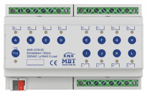 MDT AKS-1216.03 Schaltaktor 12-fach, 8TE, REG, 16A, 230VAC, C-Last, Standard, 140µF