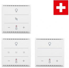 Elsner 70961 Cala KNX MultiTouch T Light/Scences CH, Glastaster, berührungssensitiv, Weiß RAL9010 Taster für Licht, Sonnenschutz, Temperatur, Swiss-Edition