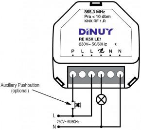 DINUY-REK5XLE1 KNX RF S-Mode Funk-Universaldimmer RLC, 230VAC, 250VA, LED-tauglich, UP Unterputz