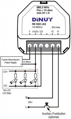DINUY-REK5XLE2 KNX RF S-Mode Funk-Dimmer 1 Kanal für LED Strips 12~48VDC, UP Unterputz