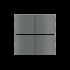 "EKINEX EK-TQQ-GBS Tasten für 4fach Tasterelektronik, FF-Serie, 4 Stück, Aluminium, Farbe ""titanium"""