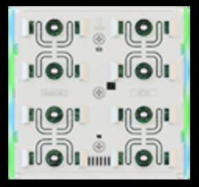 EKINEX EK-ED2-TP-BG-NFW KNX UP-Tasterelektronik mit Thermostat FF-Serie LED-Farben: blau/grün, NF-Version (rahmenlos), weisses Gehäuse