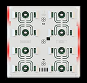 EKINEX EK-ED2-TP-RW-NFW KNX UP-Tasterelektronik mit Thermostat FF-Serie LED-Farben: rot/weiss, NF-Version (rahmenlos), weisses Gehäuse