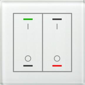 MDT BE-GTL2TW.B1 KNX Glastaster II Light 2-fach, RGBW, Weiß, Ausführung I/O Symbol, mit Temperatursensor, mit 2 Tastenpaar, 4 Sensorflächen, integrierter Busankoppler