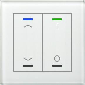 MDT BE-GTL2TW.C1 KNX Glastaster II Light 2-fach, RGBW, Weiß, Ausführung AUF/AB und I/O Symbol, mit Temperatursensor, mit 2 Tastenpaar, 4 Sensorflächen, integrierter Busankoppler
