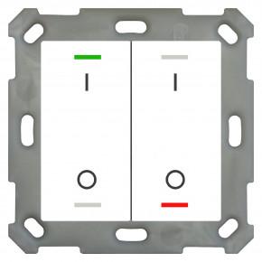 MDT BE-TAL5502.B1 Taster Light 55 2-fach, RGBW, Reinweiß glänzend, Ausführung I/O Symbol, mit 2 Tastenpaaren, 4 Tasterflächen, Integrierter Busankoppler