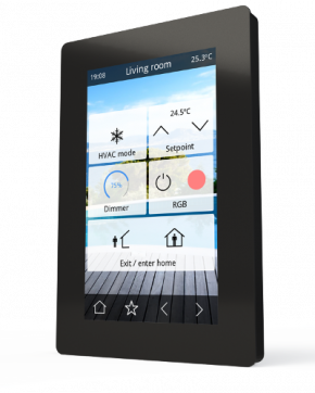 """IDDERO VERSO schwarz, Raumbediengerät mit kapazitivem 4,3"""" Farb-Touchscreen"""